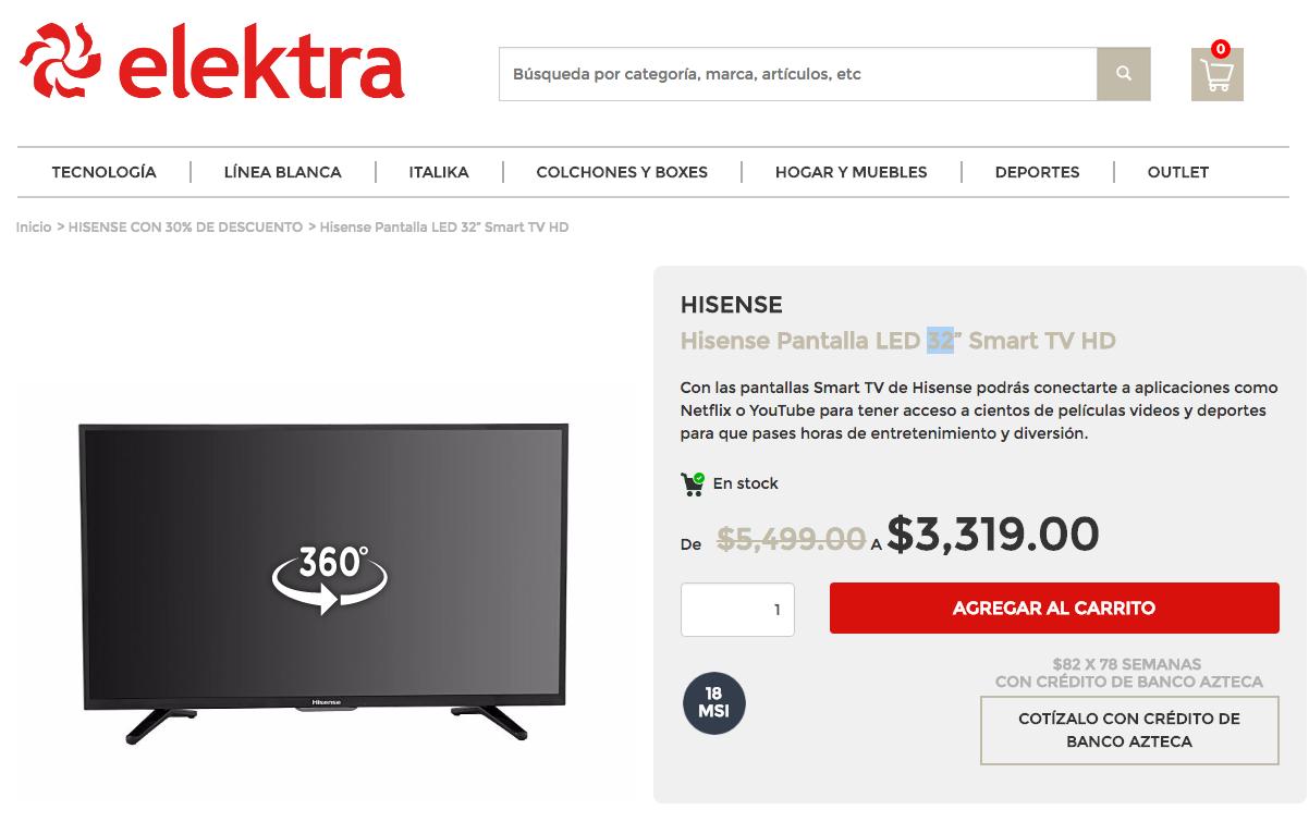 """Elektra en línea: Pantalla LED 32"""" Smart TV HD - Hisense"""