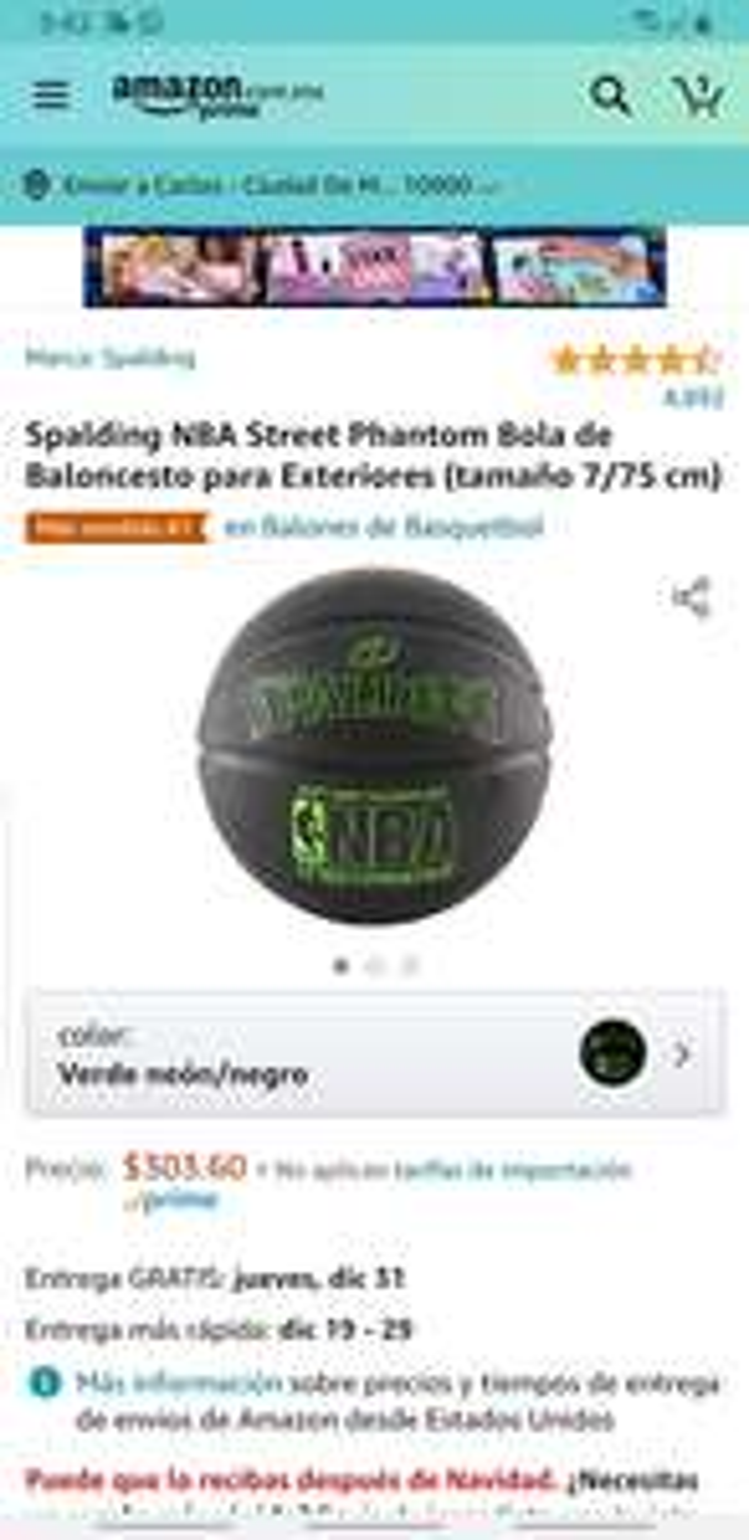 Amazon: Spalding NBA StreetPhantom Bola de Baloncesto para Exteriores (tamaño 7/75cm)