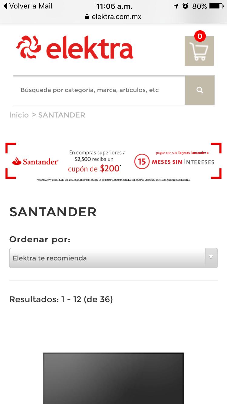 Elektra en línea: en compras de $2,500 recibe cupón de $200 para próxima compra con Santander, compra mínima para redimir el cupón $1,500