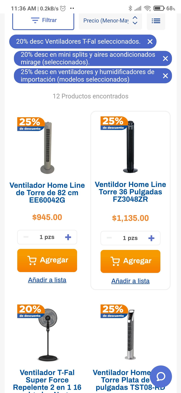 Chedraui: 20% y 25% de desc. en ventiladores T-fal, aires Mirage y humificadores