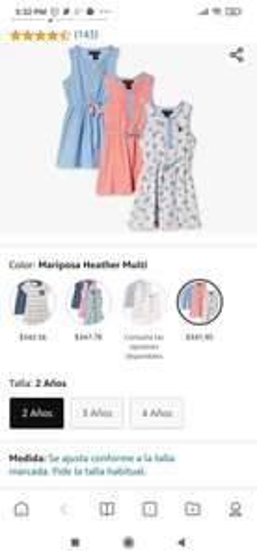 Amazon: Tres vestidos polo para niña de 2 años