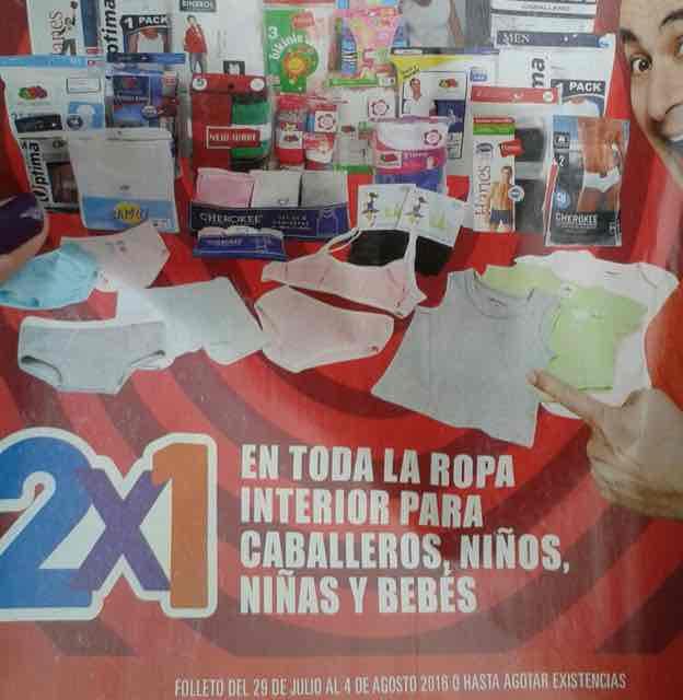 Promoción de Julio Regalado 2016 en Soriana y Comercial Mexicana: 2x1 en ropa interior para caballero, niña, niño y bebe