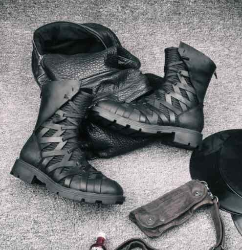 Aliexpress: Botas de desierto italianas para hombre, botas cortas para motocicleta, de cuero genuino, estilo vendaje, para otoño