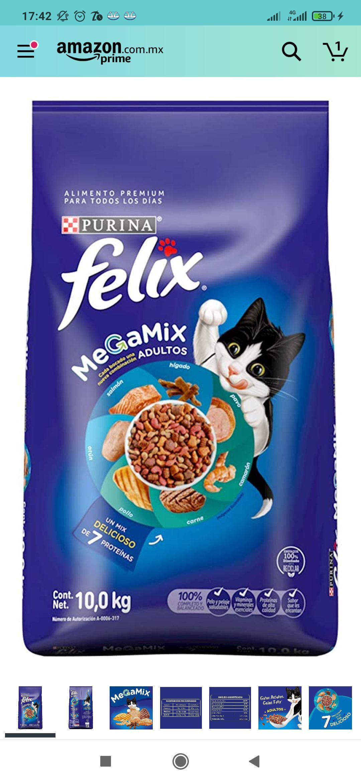 Amazon: Felix Megamix Croquetas para Gato Adulto 10 kg (Con planea y cancela)