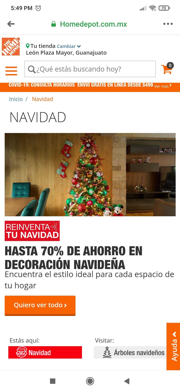 Todos los adornos de navidad hasta 70% en Home Depot