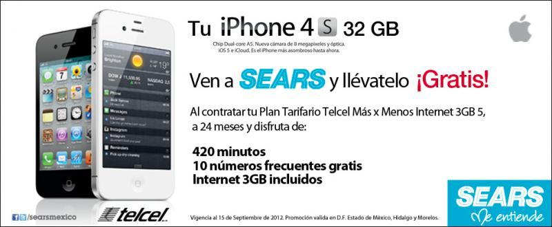 iPhone 4S 32GB gratis en plan Telcel más x menos 5 a 24 meses y Nokia Lumia 710 gratis en Telcel 300