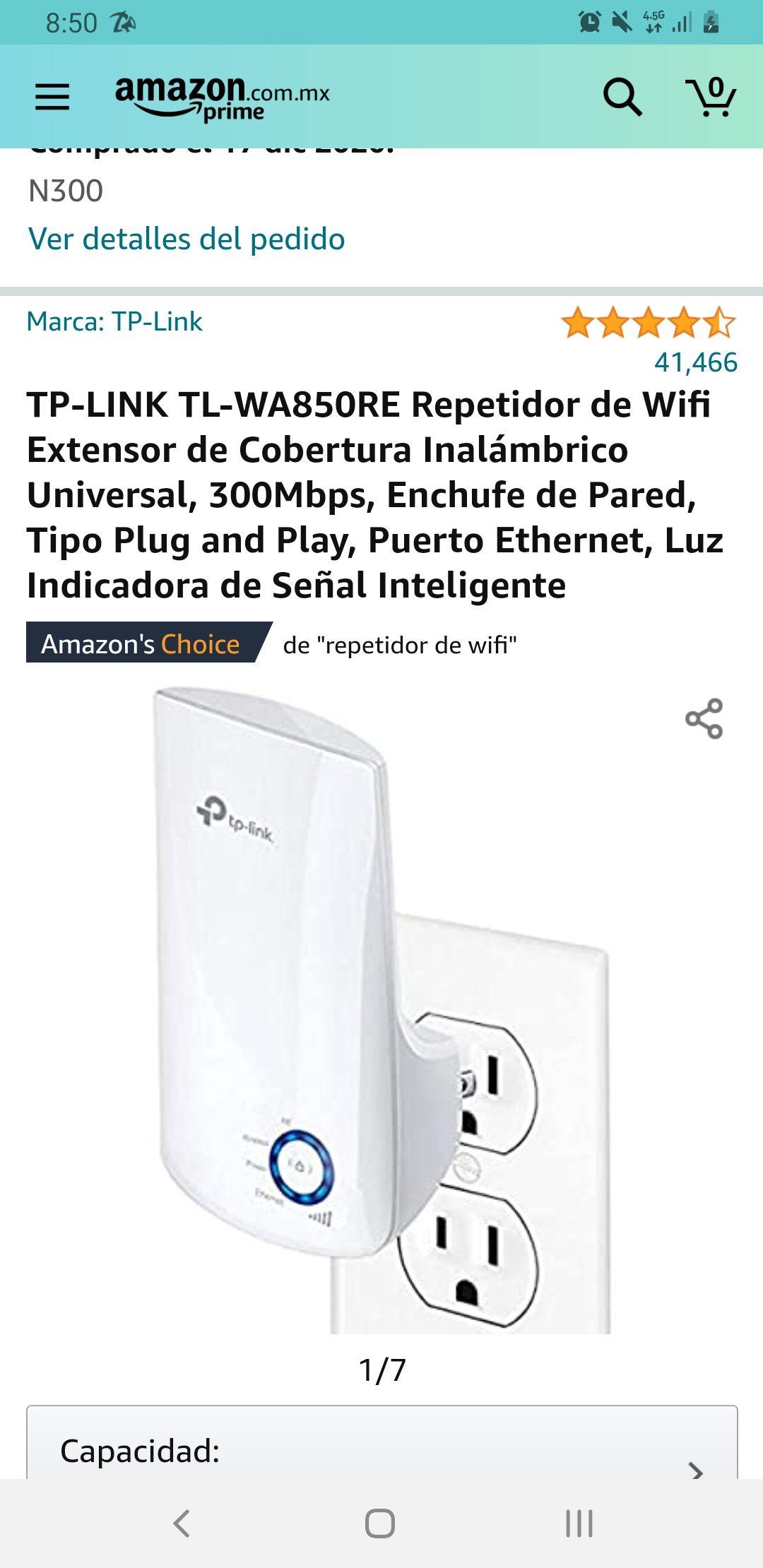 Amazon: TP-LINK TL-WA850RE Repetidor de Wifi Extensor de Cobertura Inalámbrico