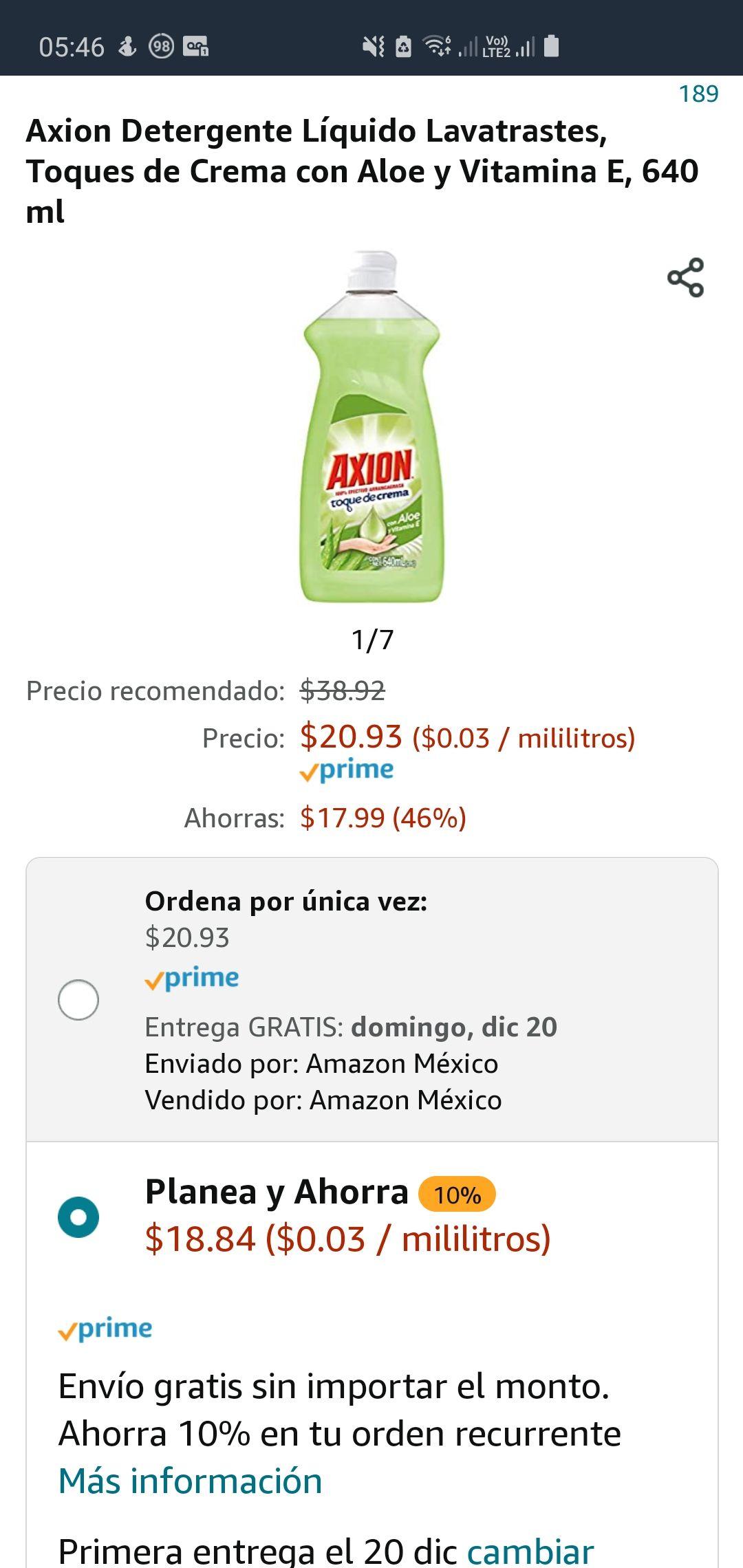Amazon: Axion Detergente Líquido Lavatrastes, Toques de Crema con Aloe y Vitamina E, 640 ml