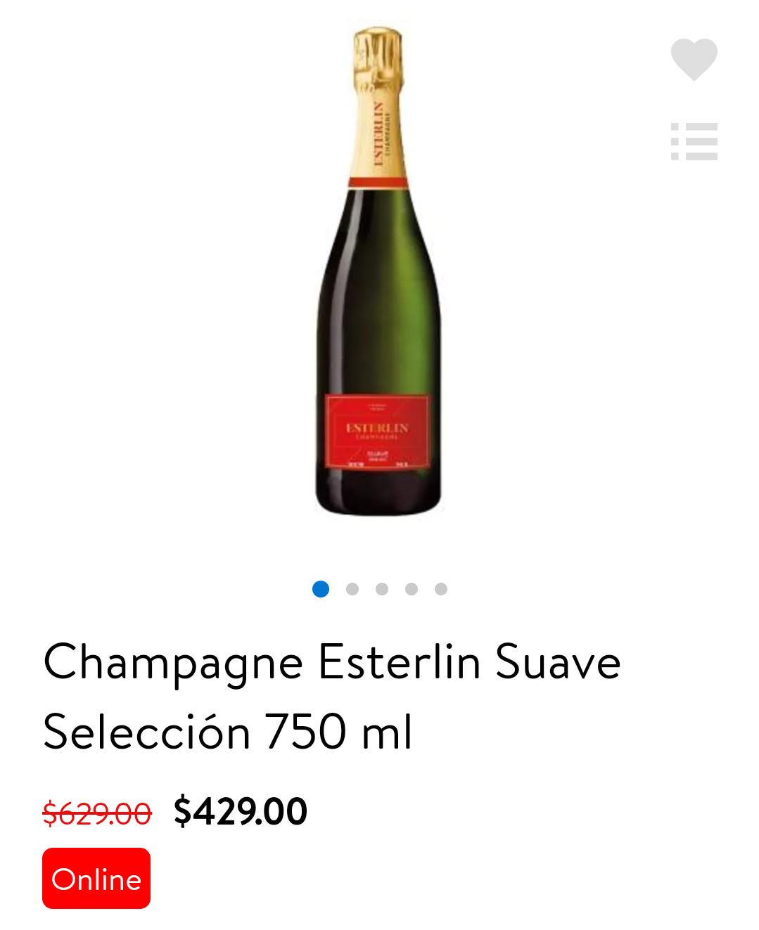 WalMart online: champagne Esterlin Suave selection 750 ml de $629 a $429