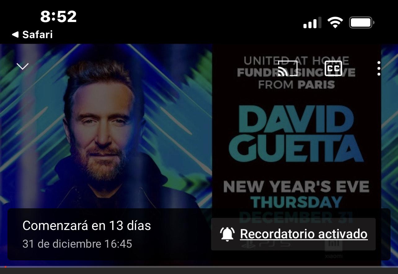 YouTube : Concierto gratis David Guetta, fiesta de fin de año
