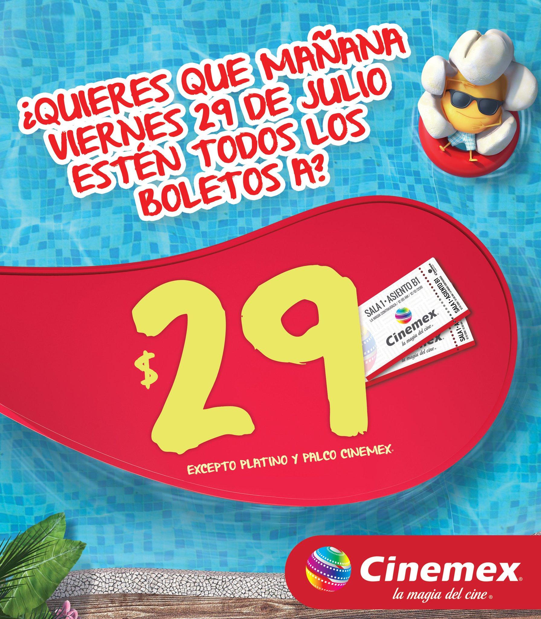 Cinemex: $29 pesos cualquier sala el 29 Julio