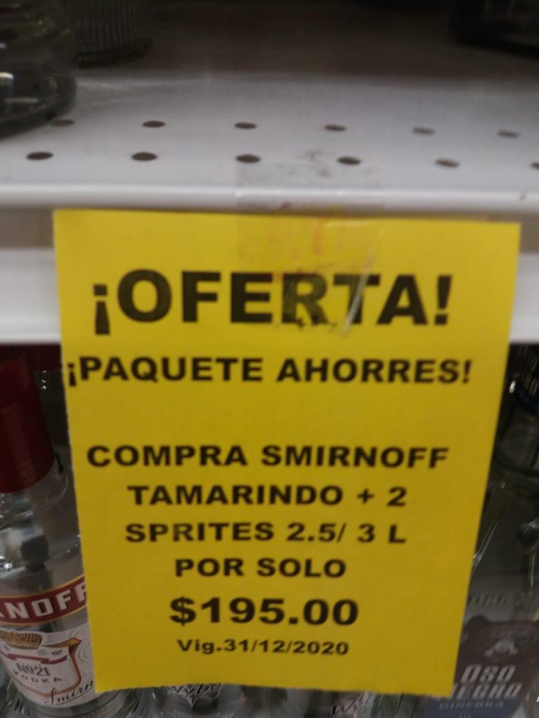 Soriana: Smirnoff Tamarindo + 2 Sprite 2.5 o 3L
