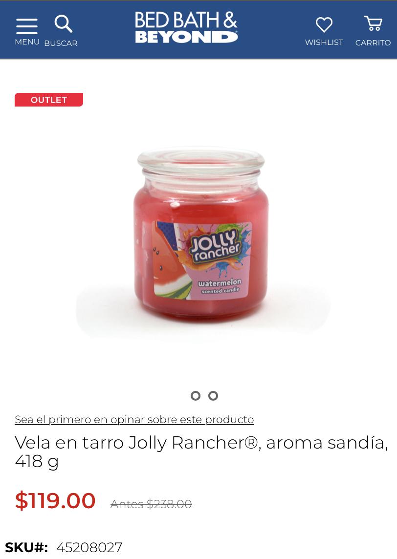 Vela Jolly Rancher sabor Sandía pagina Bed Bath and Beyond