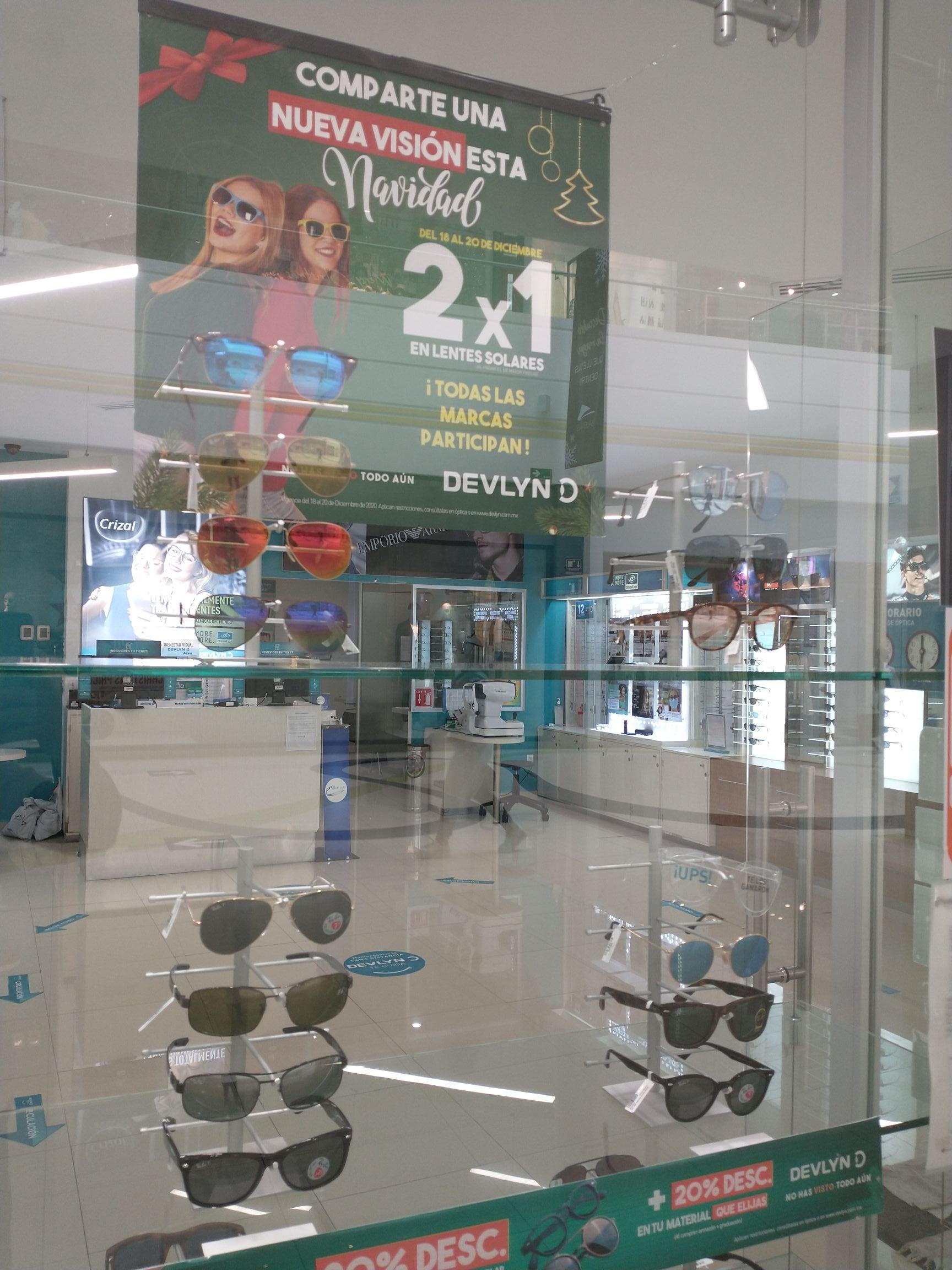 Todas las gafas al 2x1 Galerías Serdán Devlyn Puebla