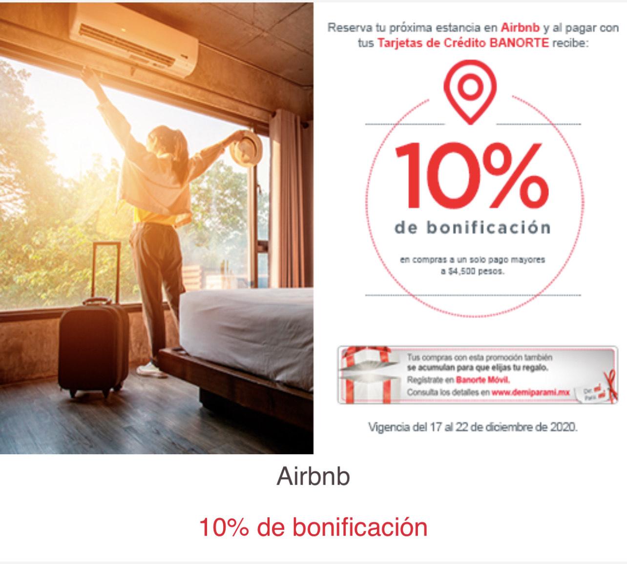 10% de bonificación en Airbnb pagando con Banorte