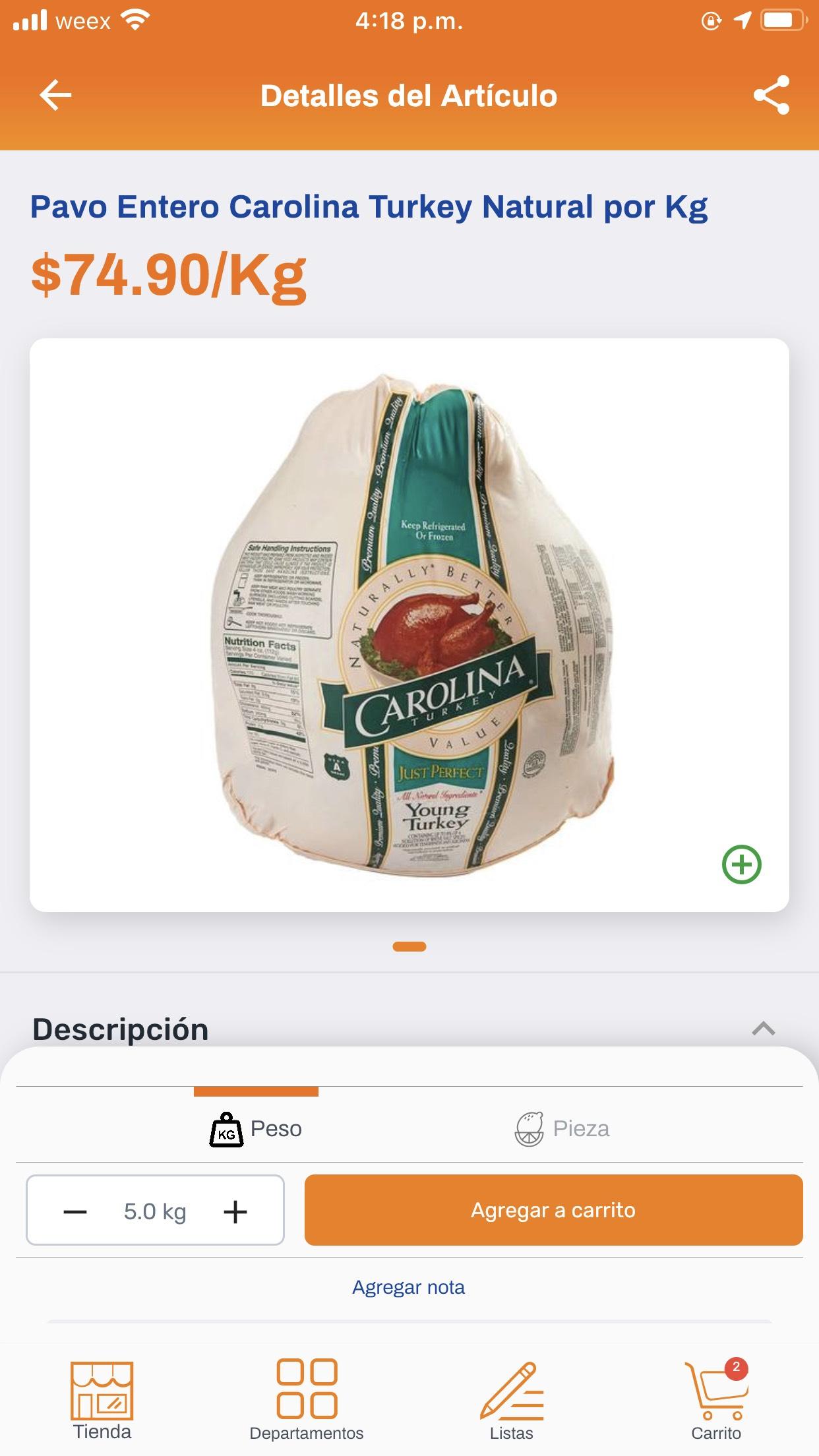 Chedraui: Pavo entero Carolina Turkey Natural por kg.