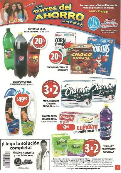 Folleto Farmacia Guadalajara: 3x2 en papel Charmin y toallas Naturella, 2x1 shampoo Optims y más