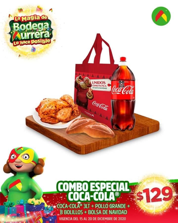 Bodega Aurrera: combo pollo, coca, bolillos y bolsa por 129.