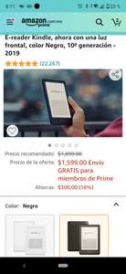 Amazon: Kindle e-reader 10 generación de $1899 a $1599 MXN