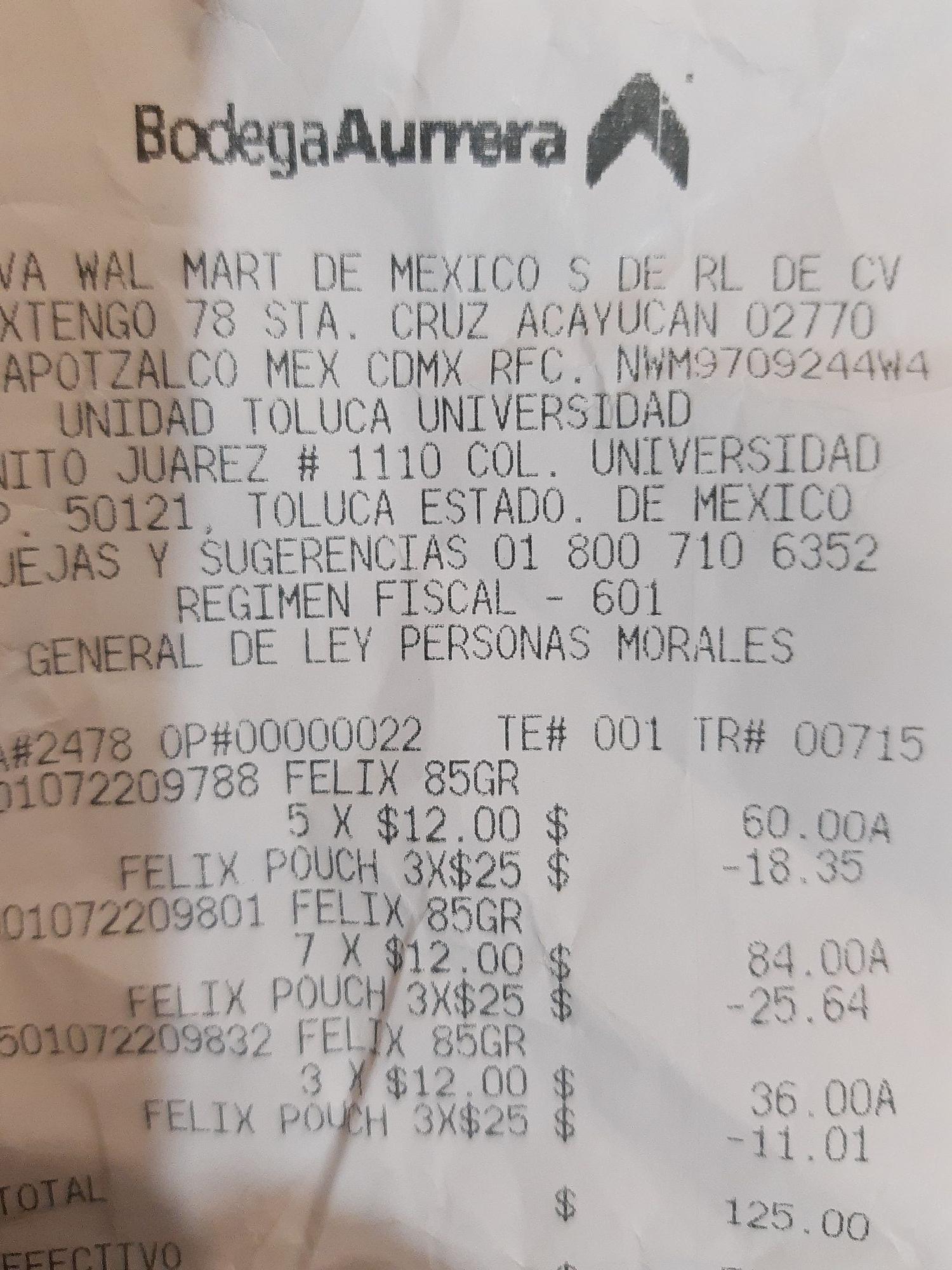 Bodega Aurrera: oferta de 3 sobres 85 grs marca Félix, diferentes sabores.