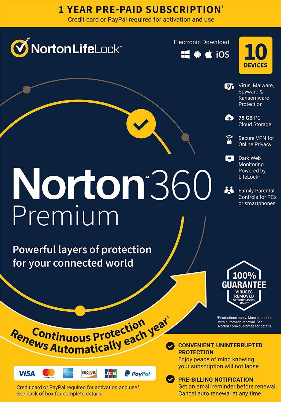 Amazon: 12 meses de Antivirus Norton 360 Premium (10 dispositivos $74.98 c/u)
