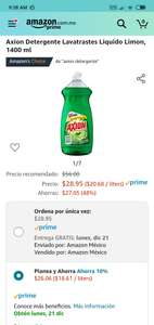 Amazon Axion Lavatrastes 1.4 litros