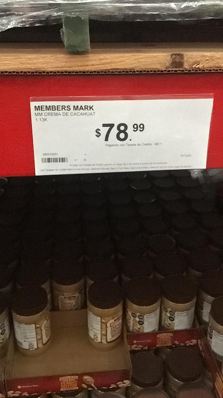 Sam's Club. Crema de cacahuate Member's Mark