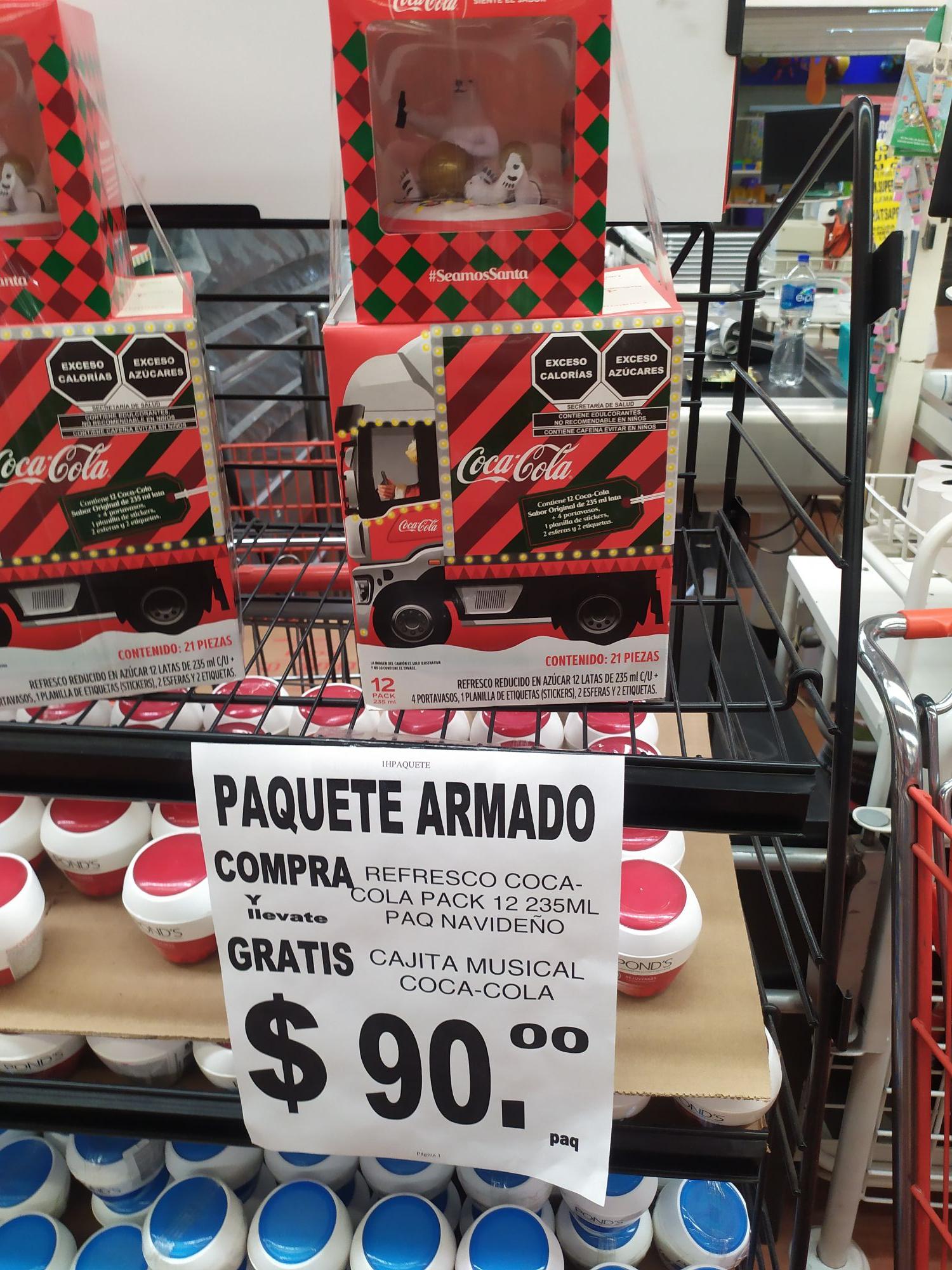 Soriana: paquete coca cola con caja musical