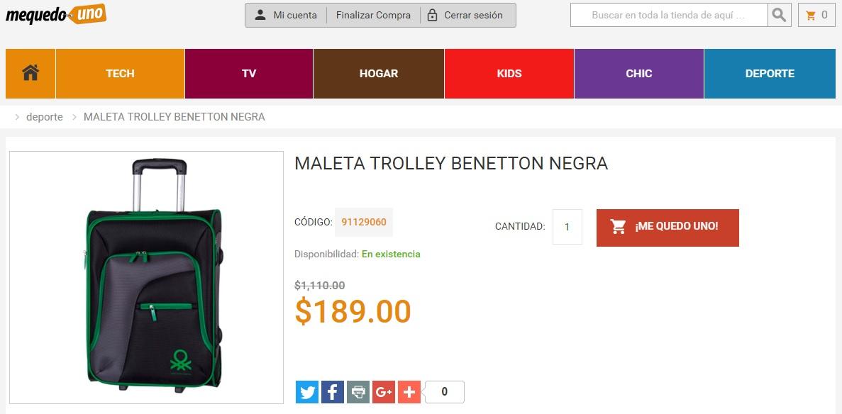 MeQuedoUno: maleta trolley Benetton a $189