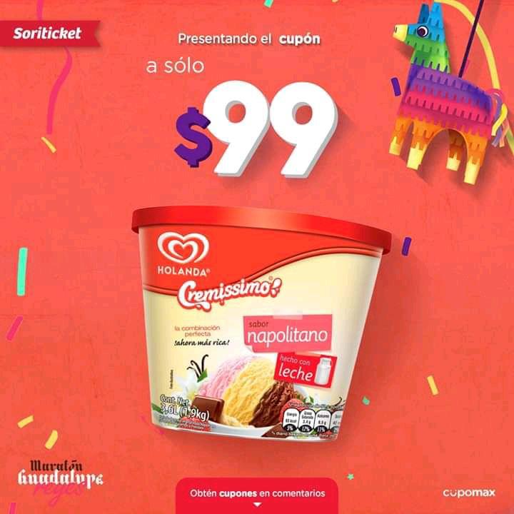 Soriana: Cubetas de Helado Cremissimo Holanda 3.6 litros a $99