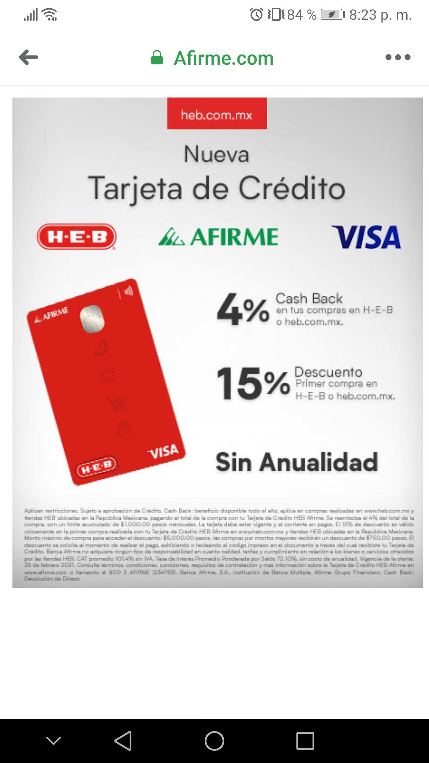 HEB y Afirme: nueva tarjeta de crédito con beneficios exclusivos para compras en HEB más otros beneficios (ver imágen)