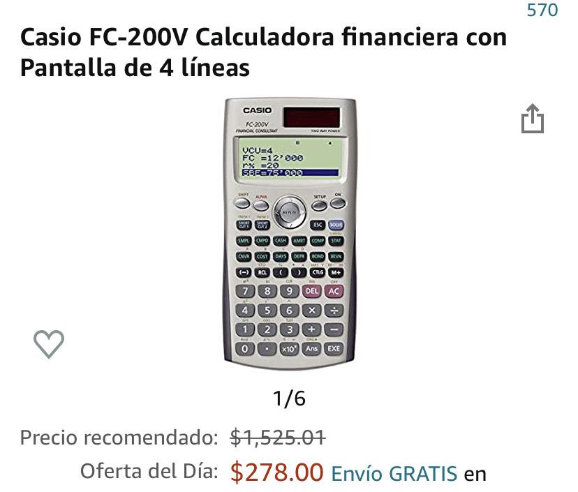 Amazon: calculadora financiera casio pantalla con 4 líneas