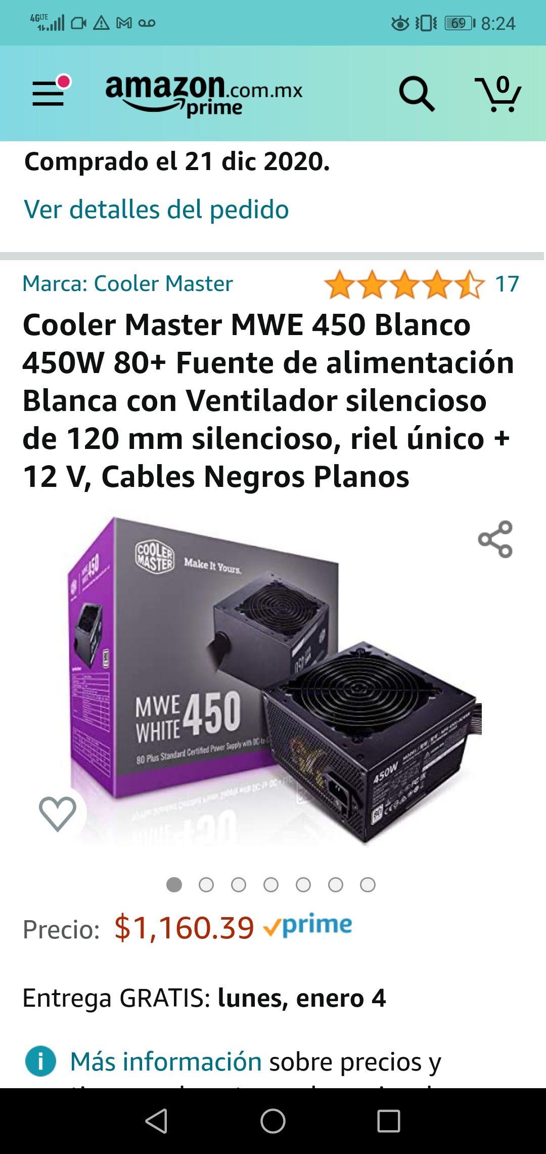 Amazon: Cooler Master MWE 450 Blanco 450W 80+ Fuente de alimentación Blanca con Ventilador silencioso de 120 mm silencioso