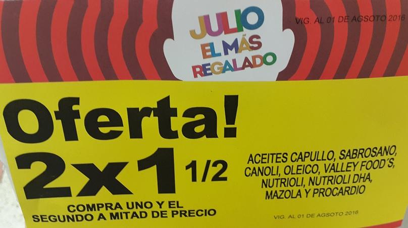 Soriana Híper: 2 x 1 1/2 en aceites Capullo, Sabrosano, Canoil, Oleico, Valley Food's, Nutrioli, Nutrioli DHA, Mazola y Procardio