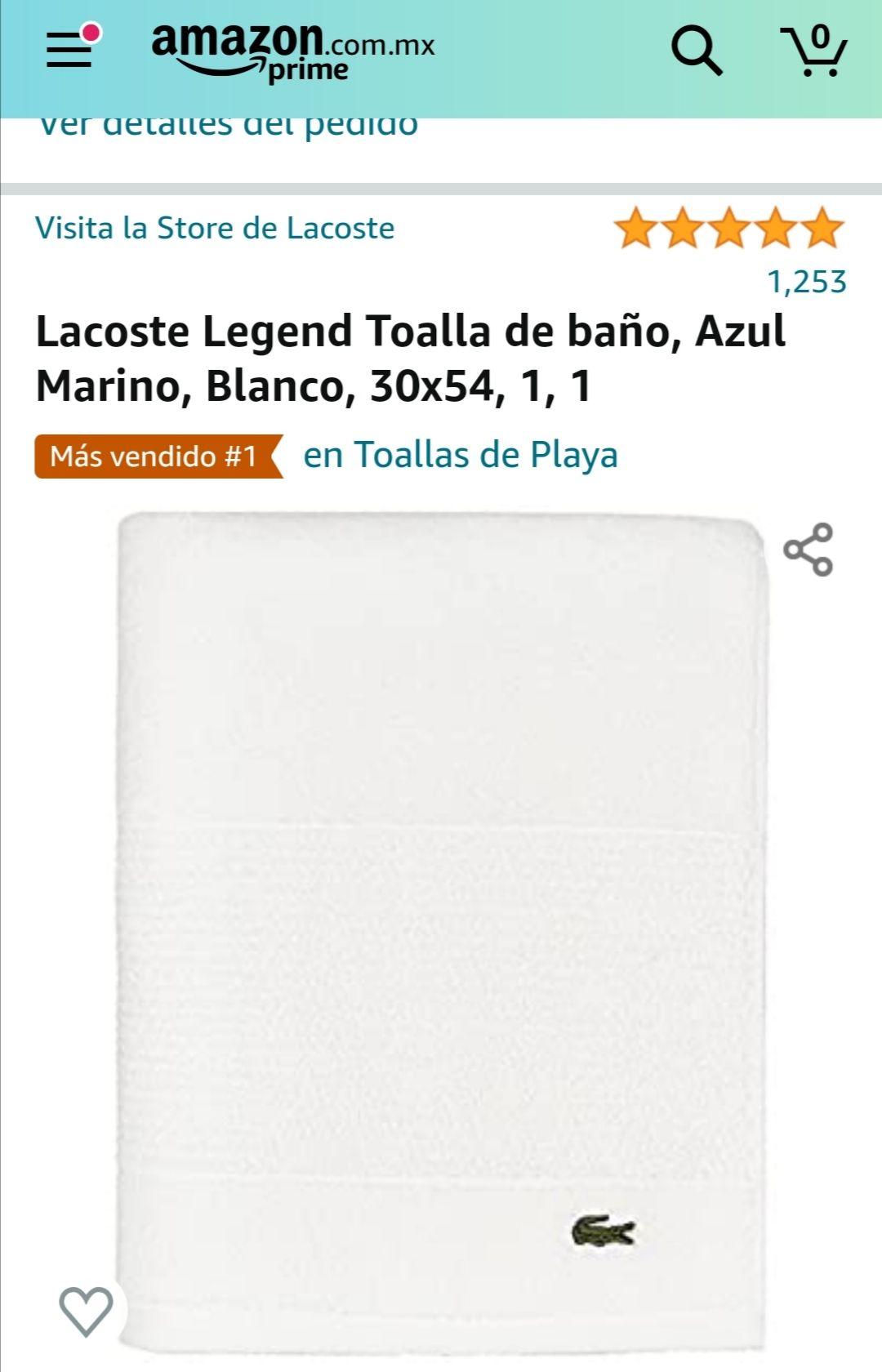 Amazon: Toalla lacoste 76 cm x 137 cm
