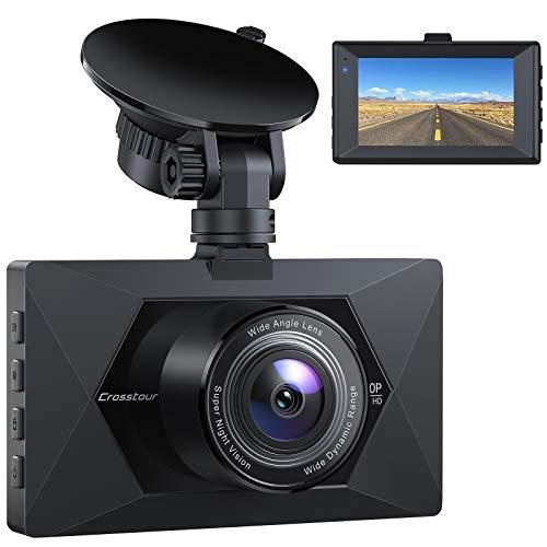 Amazon: Dash Cam, Crosstour 1080P (CR350) gran angular de 170°, WDR, G-Sensor, grabación en bucle y detección de movimiento.