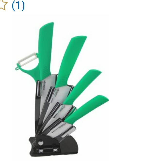 Amazon: Set de 3 cuchillos de cerámica + pelador y base  a $254