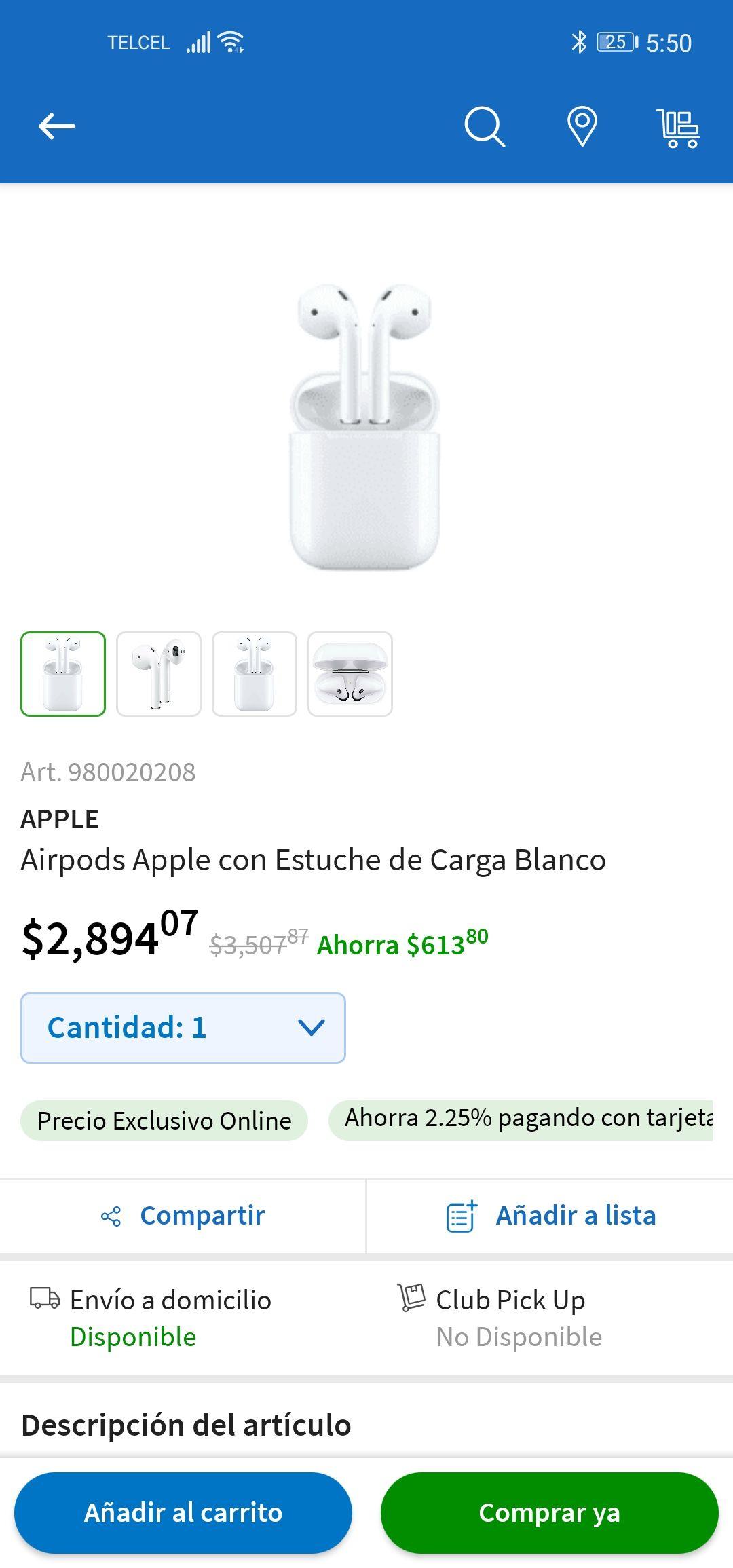 Apple airpods Sam's en linea