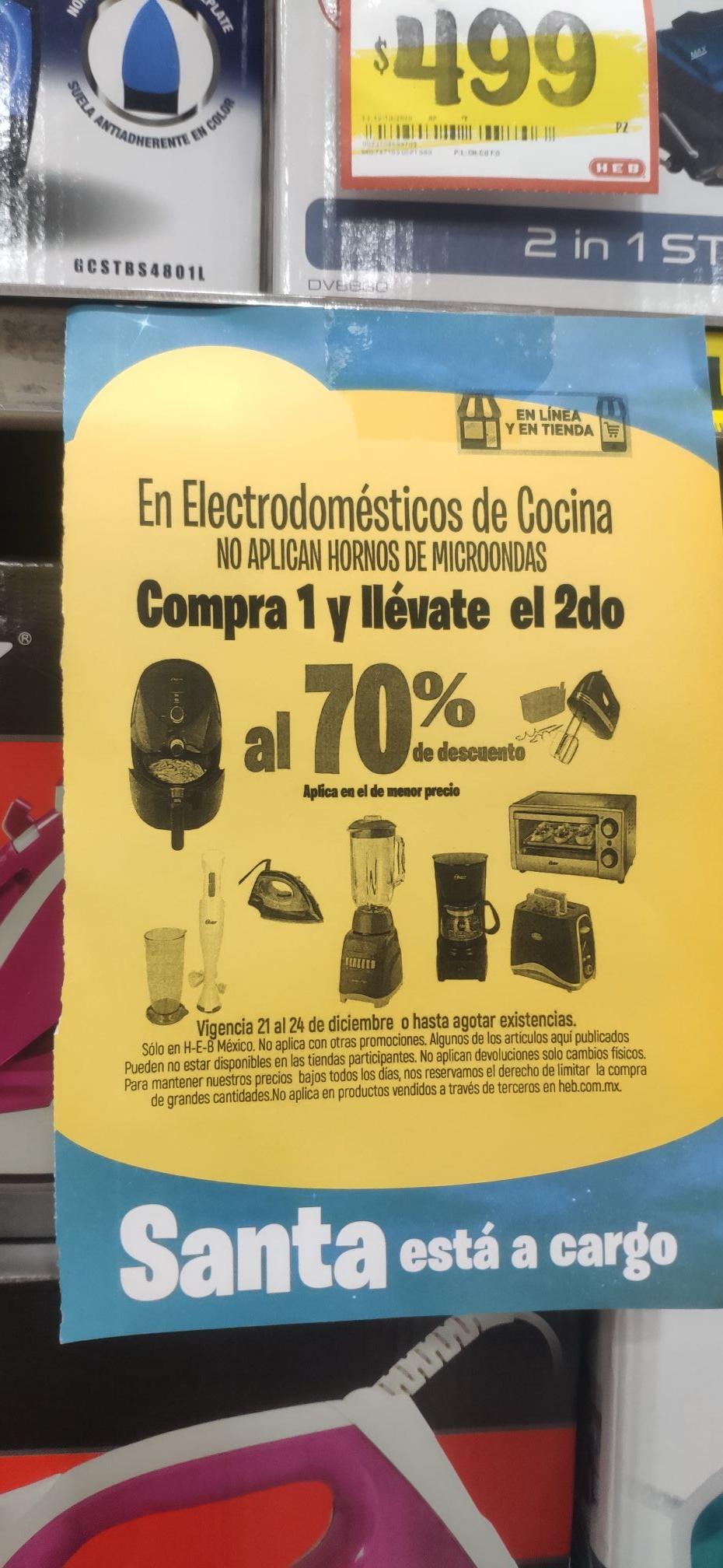 HEB En todos los electrodomésticos el 2do va con 70% de descuento