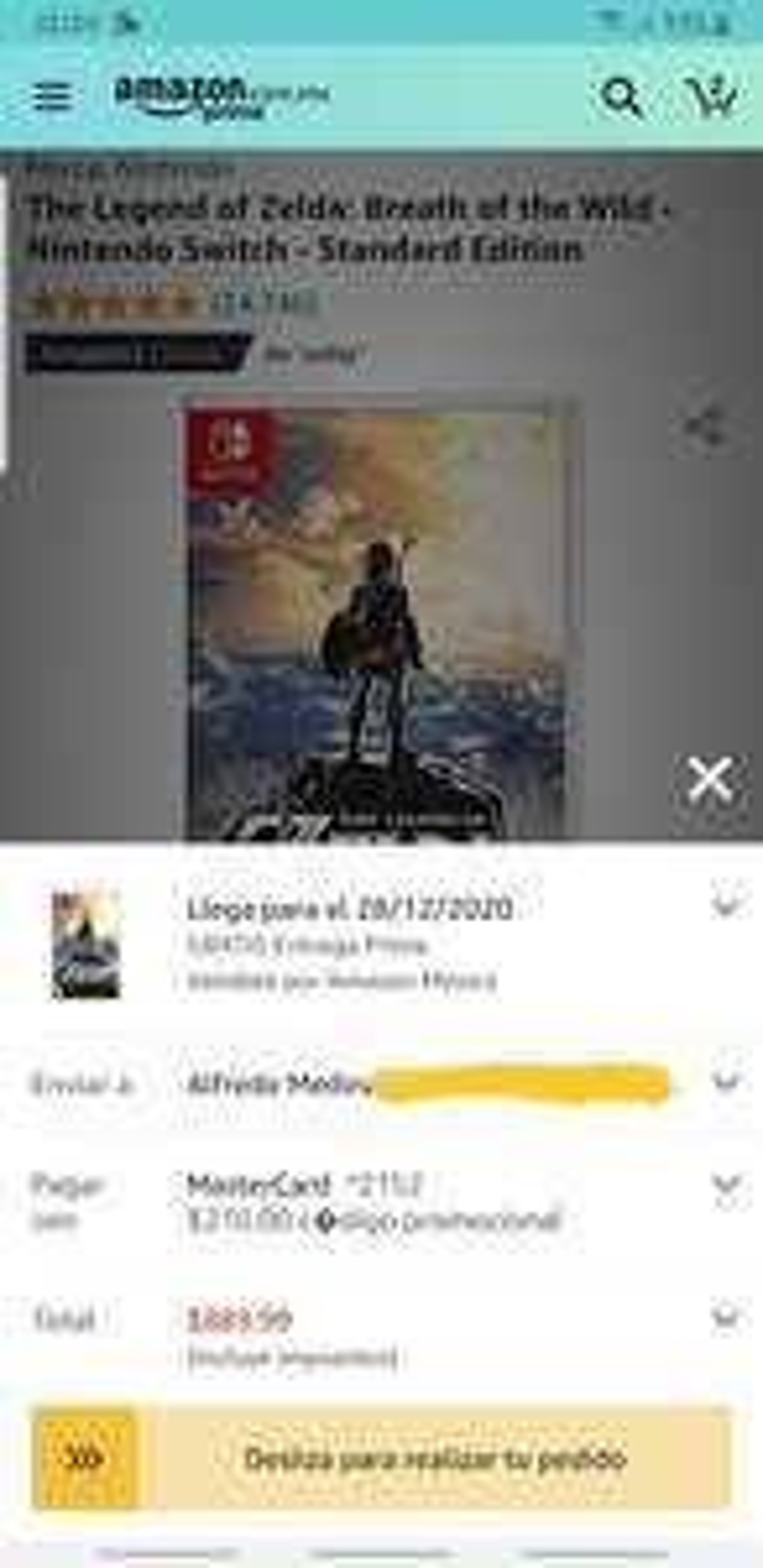 Amazon: Zelda BOTW para Switch de $1099 hasta $890