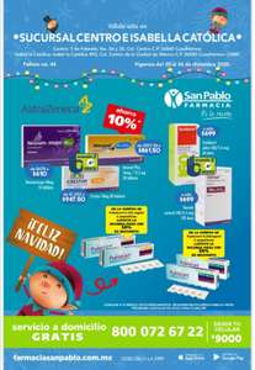 "Farmacias San Pablo: Folleto ""Duendes San Pablo"" al Domingo 27 Diciembre (sucursales Centro e Isabel La Católica CDMX)"