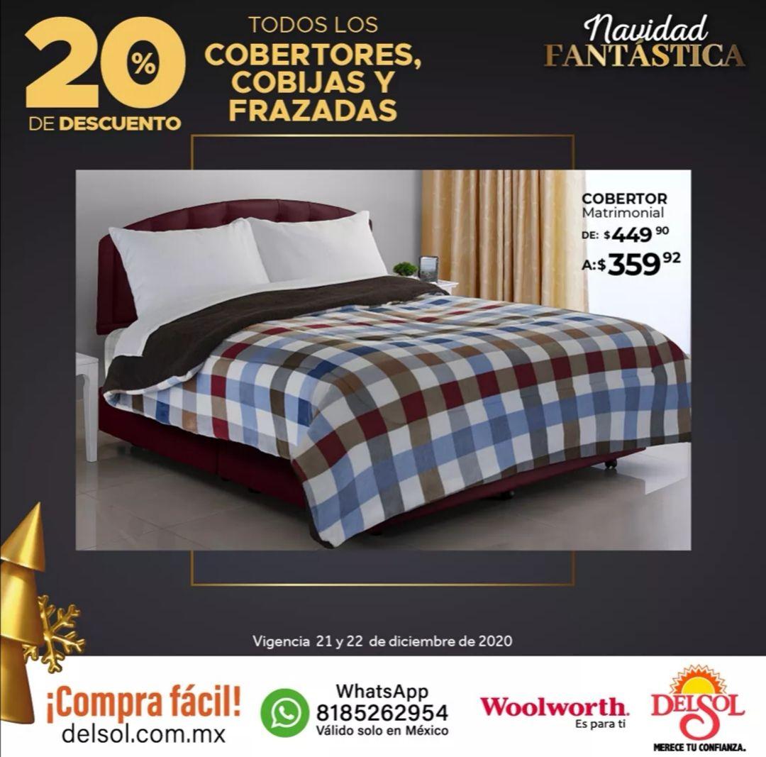 Del Sol y Woolworth: 20% de descuento en todos los cobertores, cobijas y frazadas