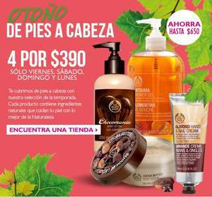 The Body Shop: 4 productos por $390 (ahorro de hasta $650)