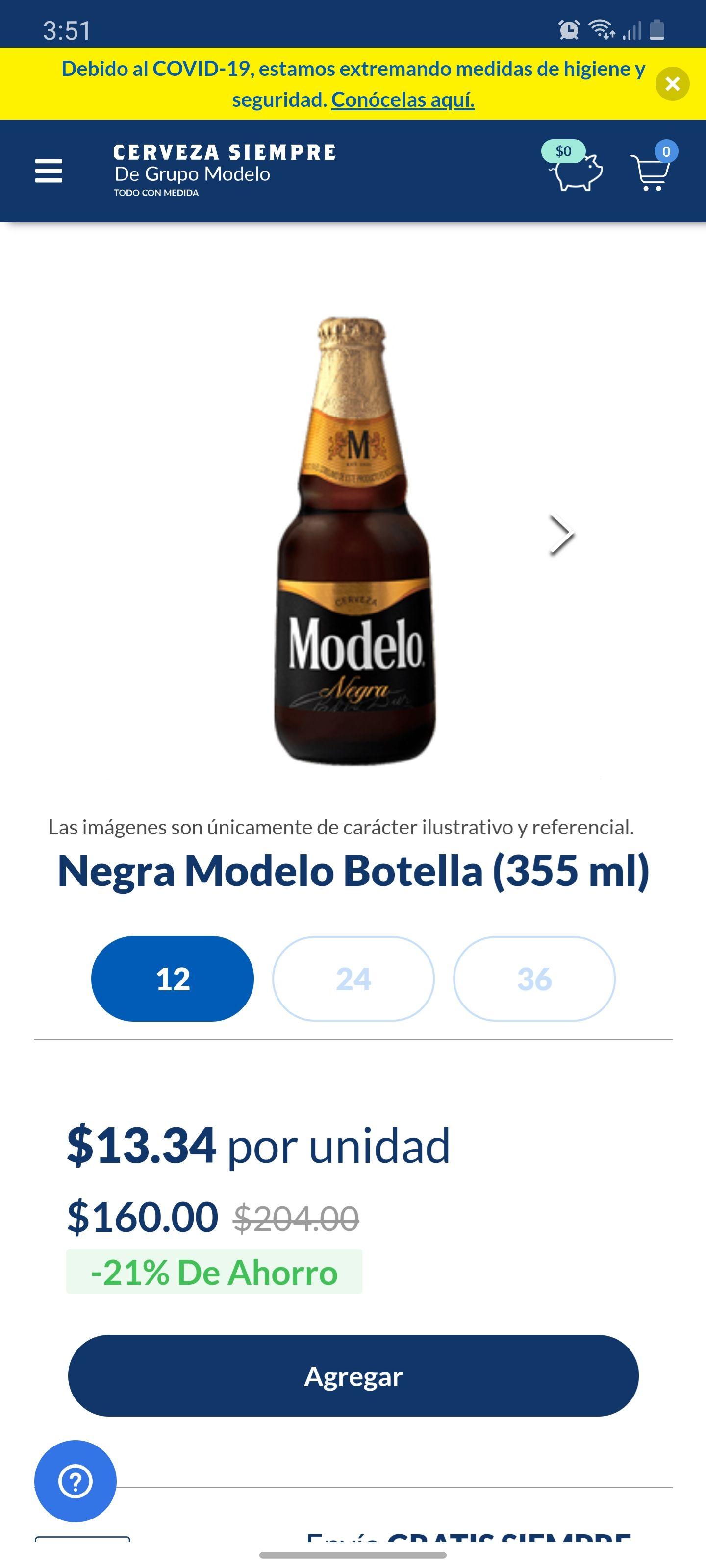 cerveza siempre: 12 de negra modelo