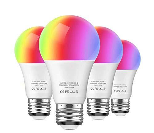 Amazon: 4 Focos LED RGB inteligente Aoycocr 10 W blanco suave / multicolor equivalente a 85 W Compatible con Amazon Alexa y Google Assistant