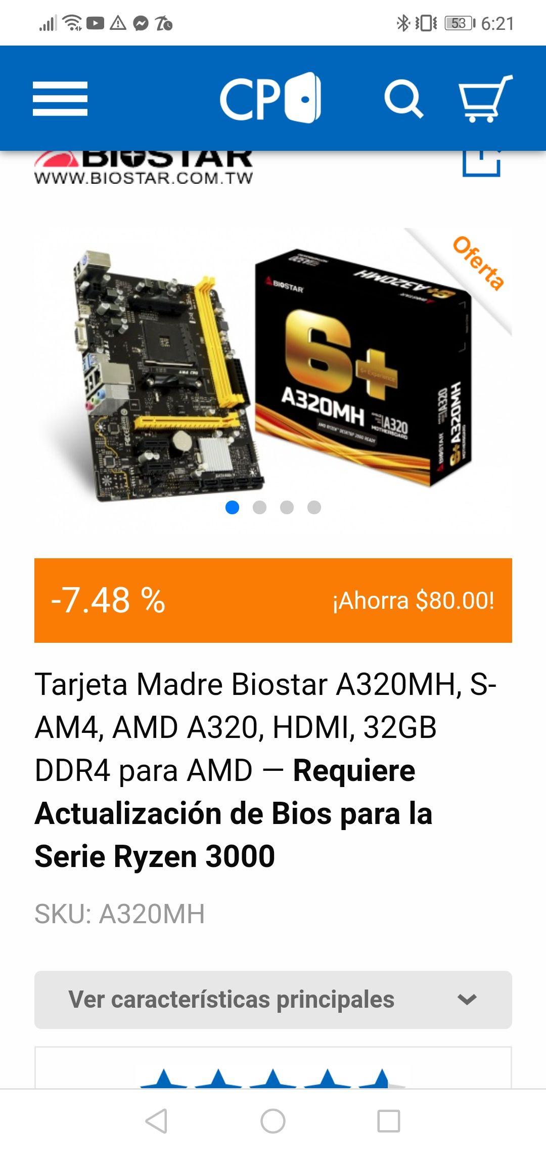 CyberPuerta: Tarjeta Madre Biostar A320MH, S-AM4, AMD A320, HDMI, 32GB DDR4 para AMD