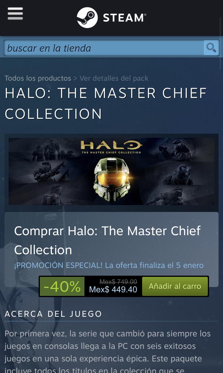 Steam: Halo the master chief a MUY buen precio