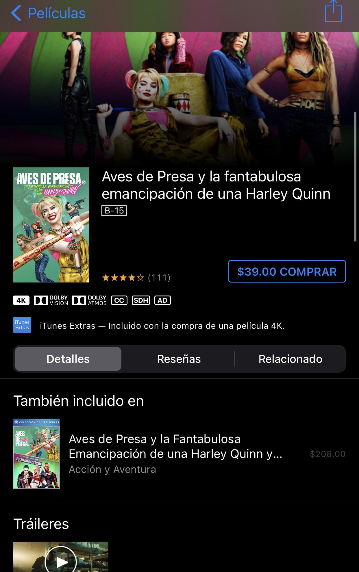 iTunes: Harley Quinn Y Las Aves De Presa 4k + Dolby Atmos