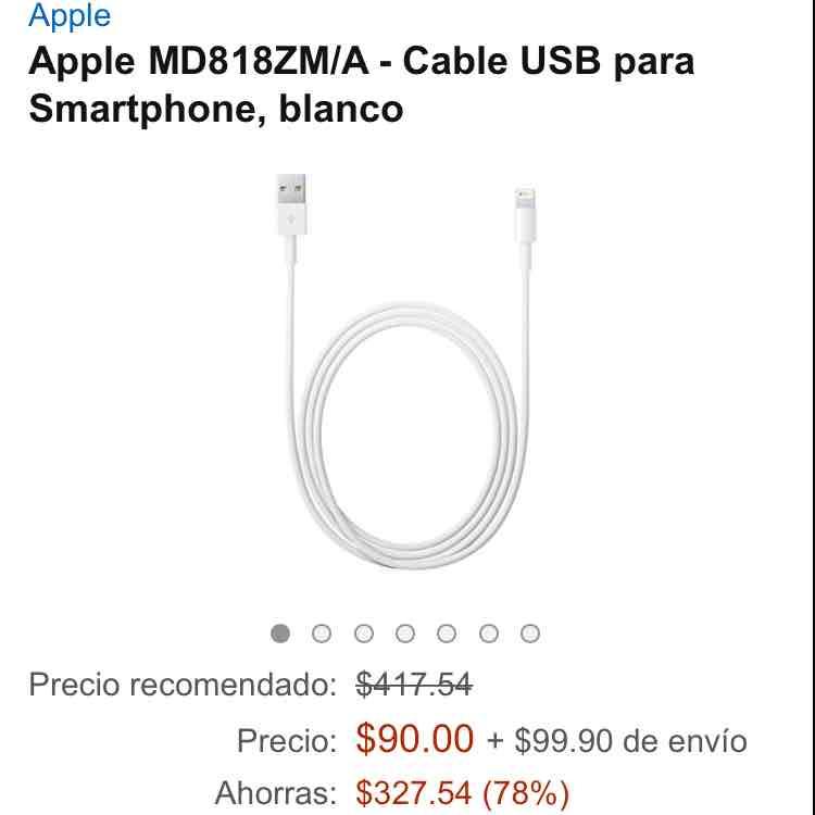 Amazon: Cable Lighting Original para iPhone/iPad vendido x tercero $90 + $90 de envío