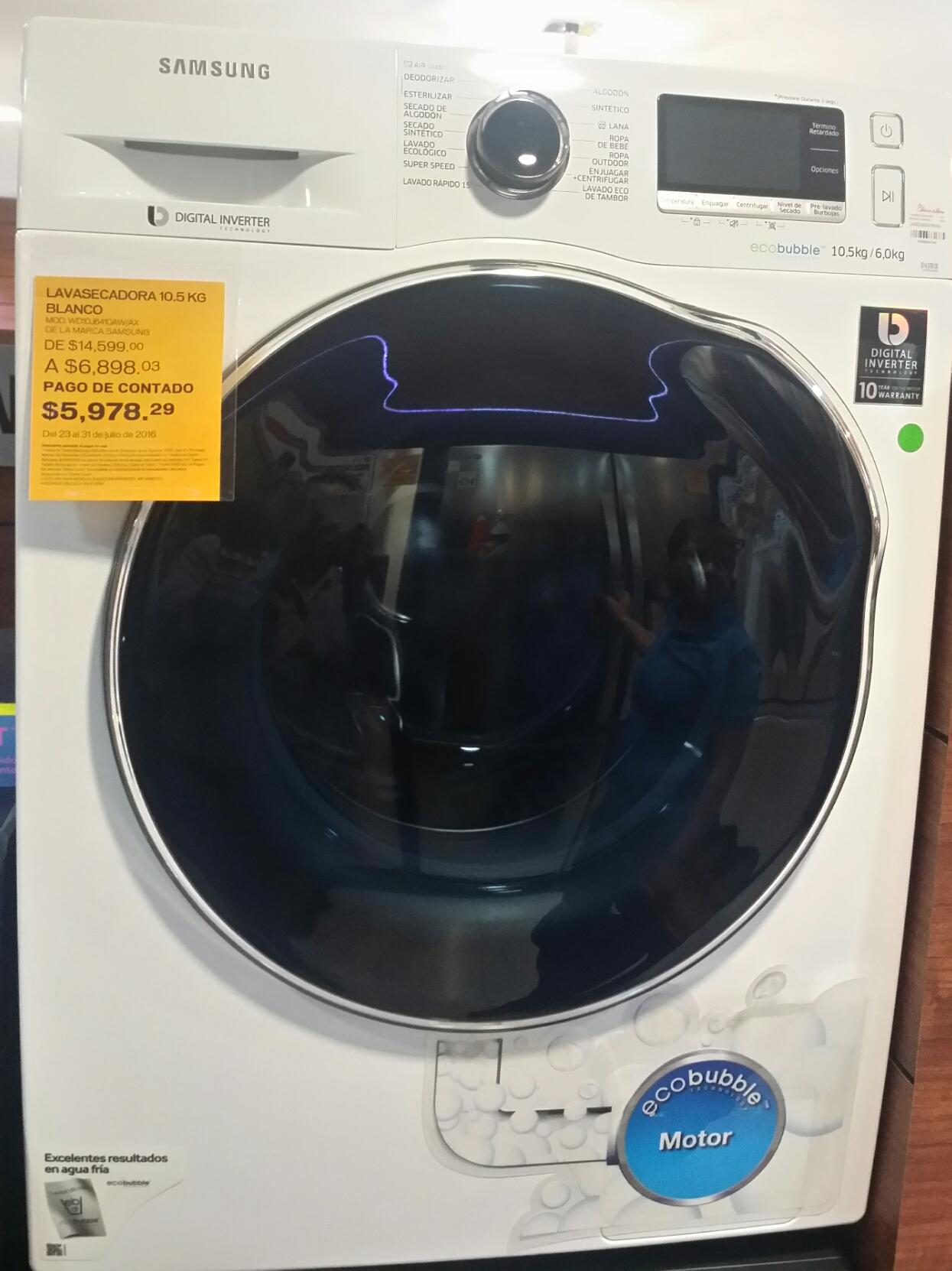 Palacio de Hierro: lavasecadora Samsung de 10.5Kg a $5,978